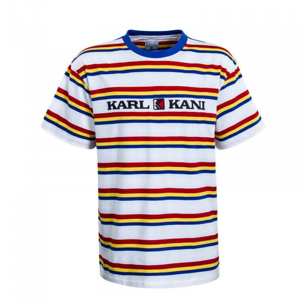Herren T-Shirt Retro Stripe White Red Blue