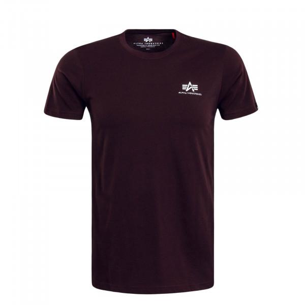 Herren T-Shirt Small Basic Deep Maroon