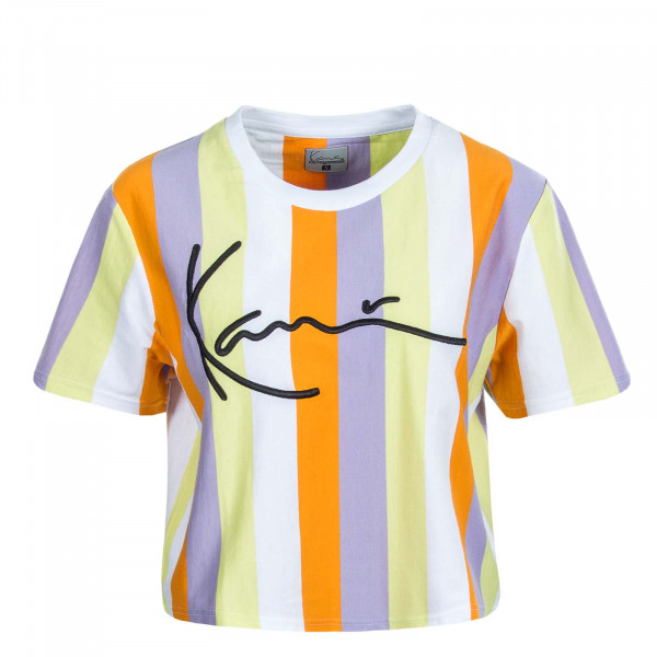 Damen Crop T-Shirt Signature Stripe Wide Tee 22030 Wht