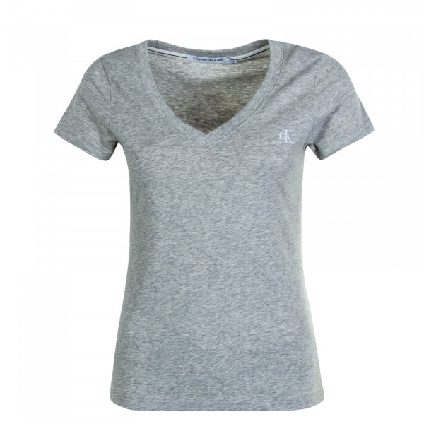 Damen T-Shirt Embroidery Grey