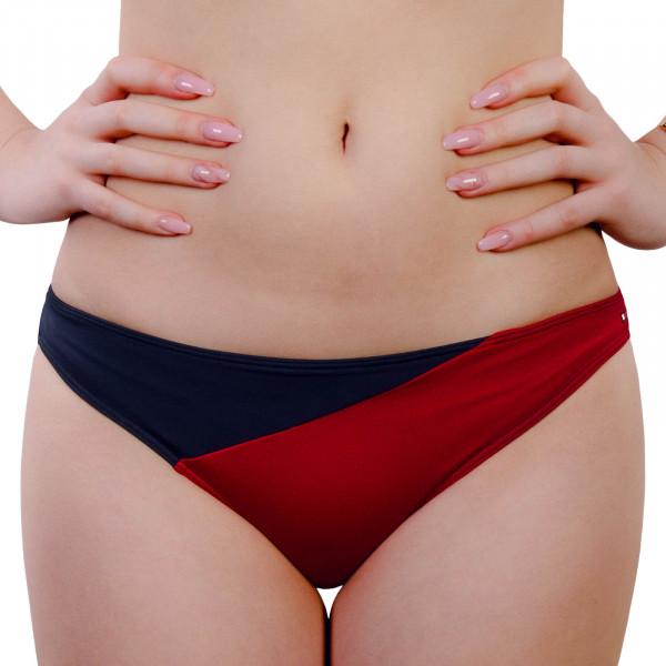 Damen Bikini Slip 1470 Navy Red White