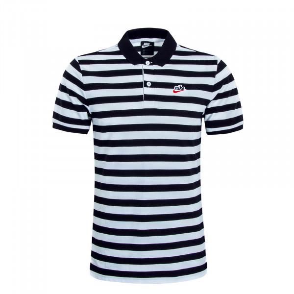 Herren Polo PQ Stripe 9074 Black White
