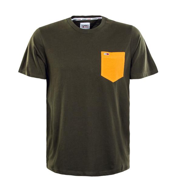 Herren T-Shirt - Contrast Pocket - Dark Olive