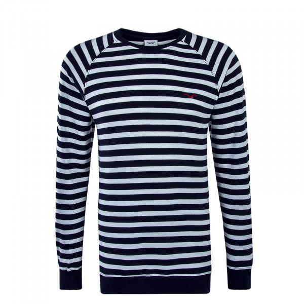 Herren Sweatshirt Classic Stripe2 White Navy