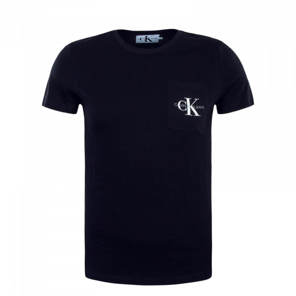 T-Shirt Monogram Pocket Slim Navy White