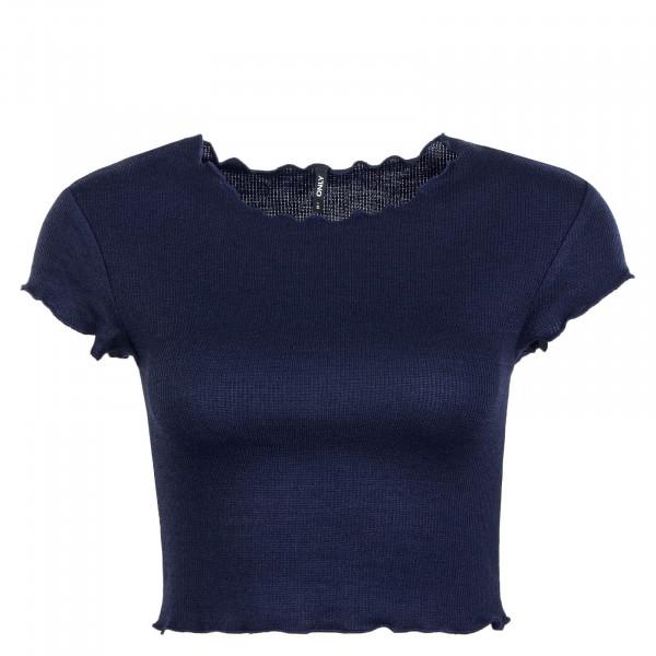 Damen T-Shirt Crop Kitty Navy