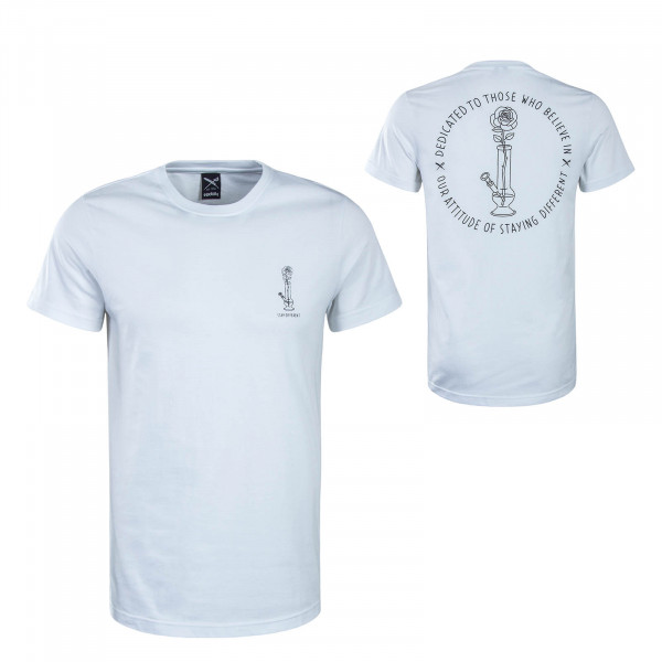 Herren T-Shirt Rosebong White Black
