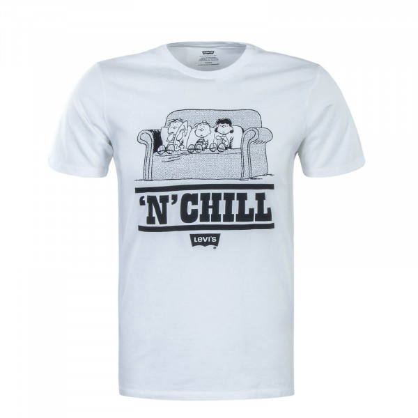 Herren T-Shirt Graphic Peanuts Chill 513 White