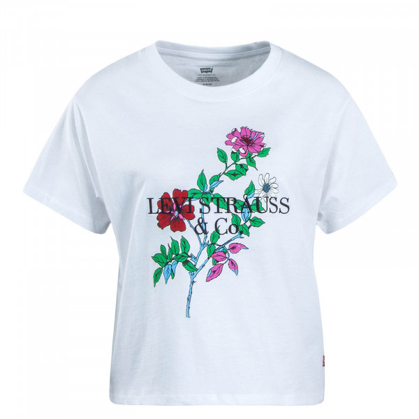Damen T-Shirt Graphic 90s White Flower
