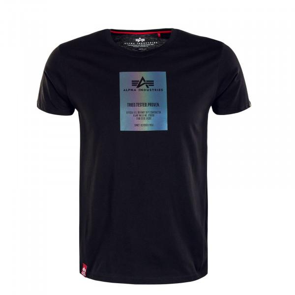 Herren T-Shirt - Rainbow Reflective Label Print - Black