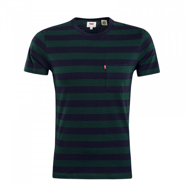 Herren T-Shirt Setin Sunset Pocket Green Navy