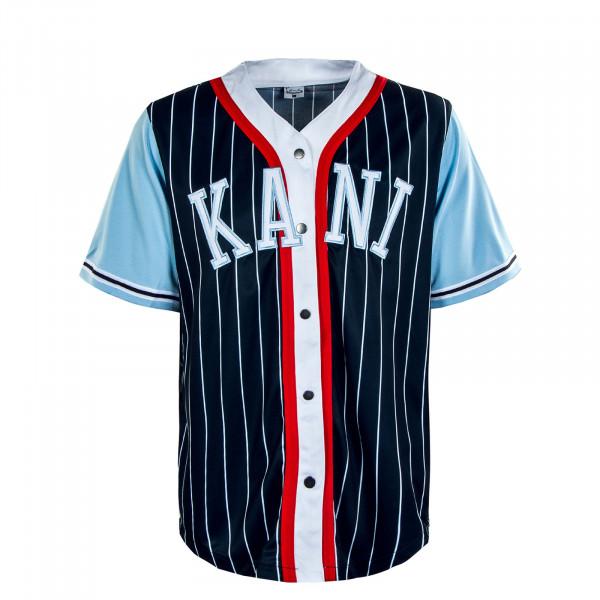 Herren Hemd - College Block Pinstripes Baseball Shirt - Navy