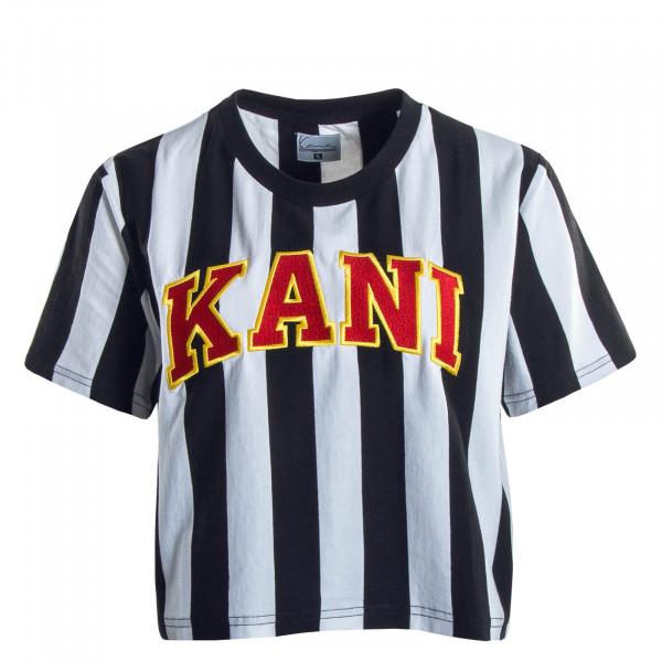 Damen T-Shirt Crop College Stripe Black White