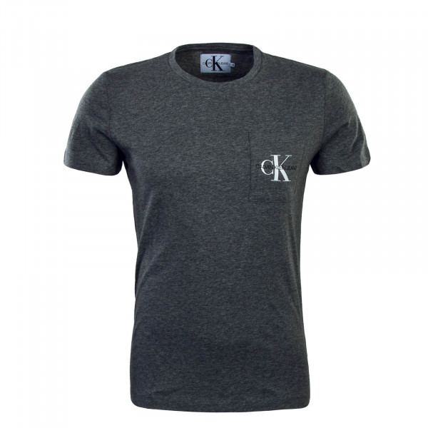 T-Shirt Monogram Pocket Slim Grey White