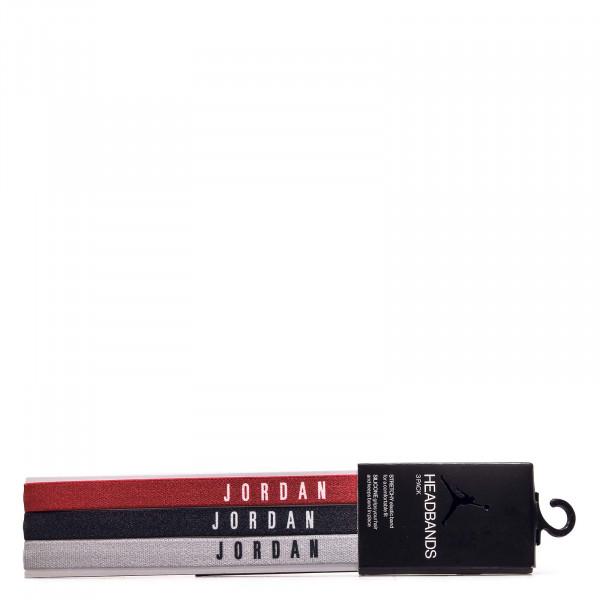 Jordan Headbands 3er-Pack Red Black Wolf Grey