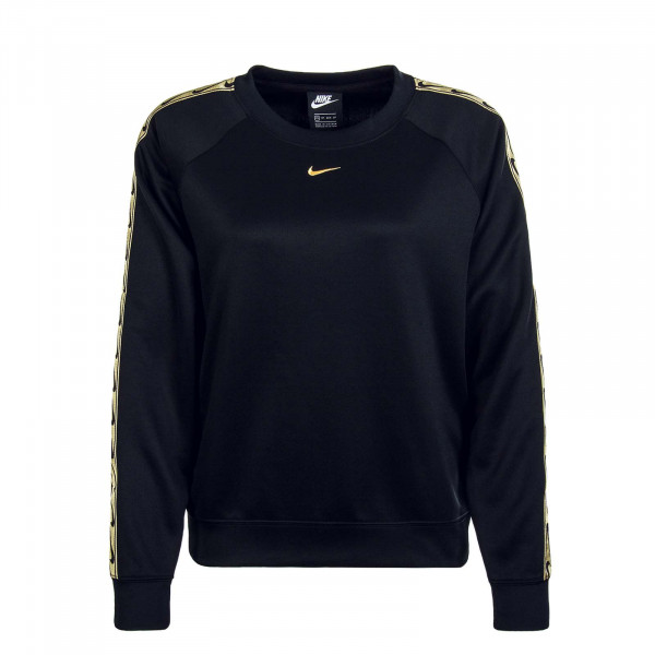 Damen Sweatshirt Crew Logo Tape Black Gold