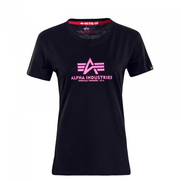 Damen T-Shirt New Basic Black NeonPink