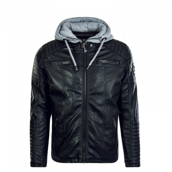 Herren Jacke Pu Hooded Black Grey