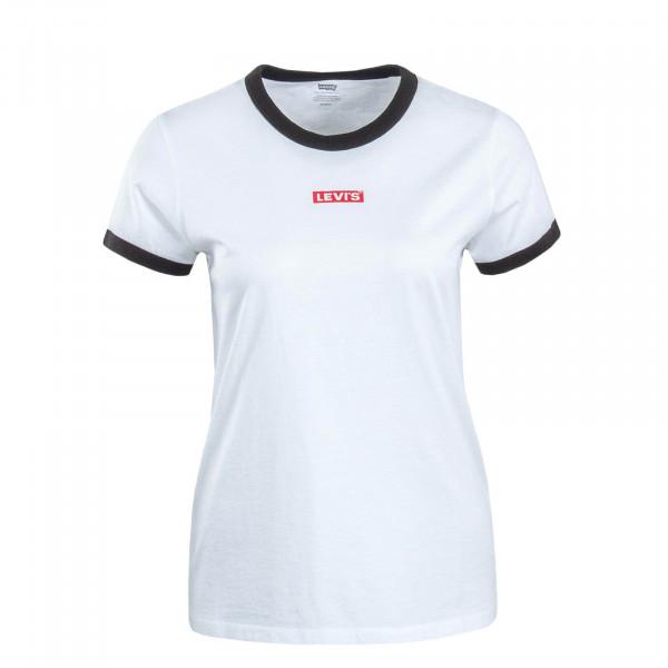 Damen T-Shirt Perfect Ringer White Black