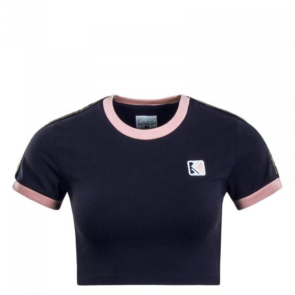 Damen T-Shirt Crop Navy Rose
