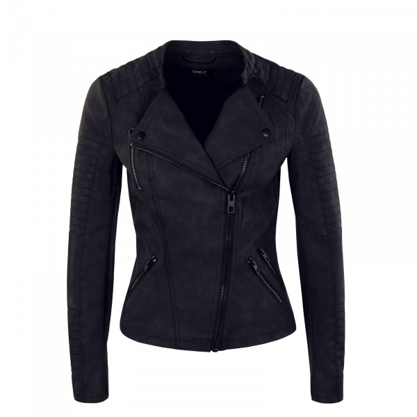 Damen Jacke - Ava Faux Leather Biker - Black
