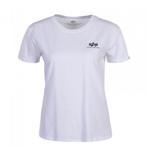 Damen T-Shirt Basic Small Logo White