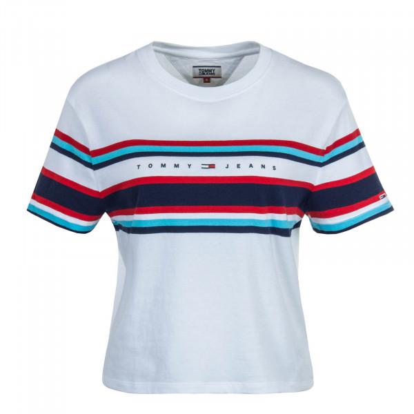 Damen T-Shirt Stripe Logo White