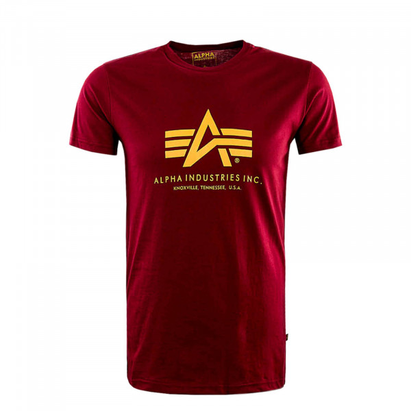 Herren T-Shirt Basic Bordeaux Yellow