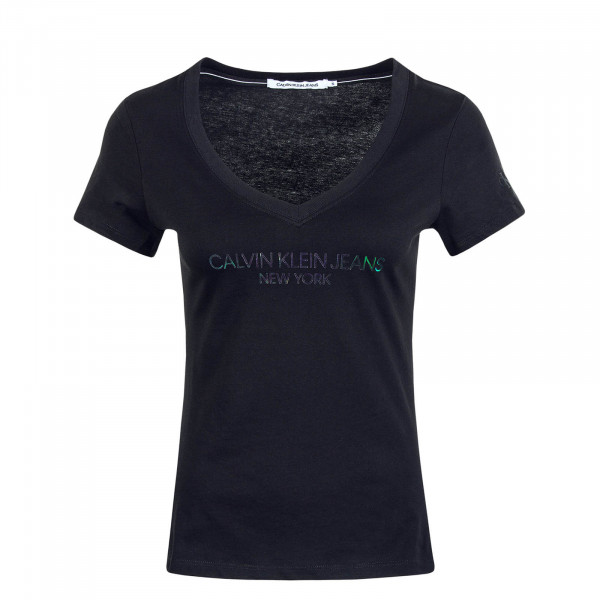 Damen T-Shirt V Iridescent Black