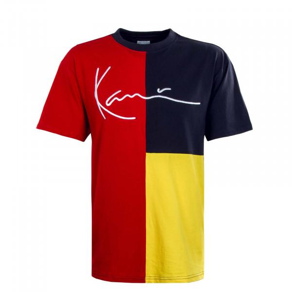 Herren T-Shirt - Signature Block - Red / Navy / Yellow