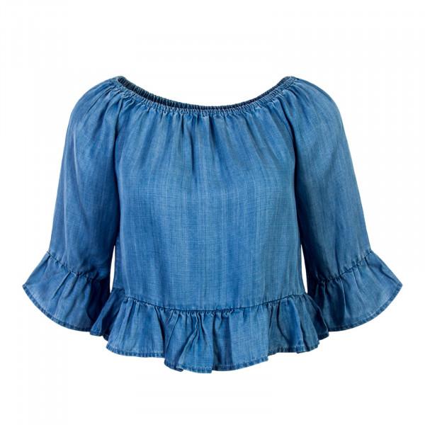 Damen Bluse Seco Light Blue Denim