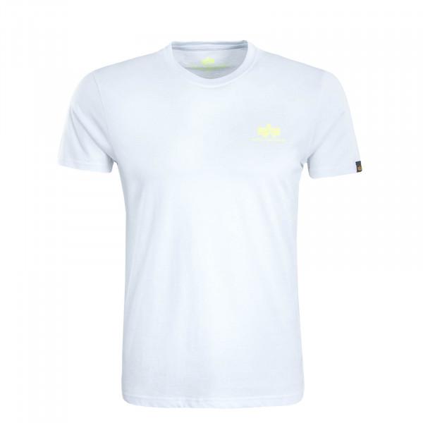 Herren T-Shirt Small Basic White Neon Yellow