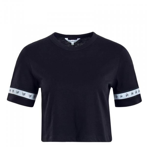 Damen T-Shirt Crop Monogram Tape Black