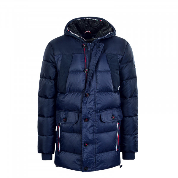Herren Parka Mixed Fabric Navy