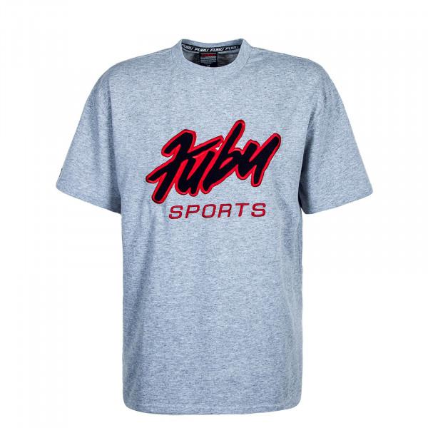Herren T-Shirt Varsity Grey Black Red