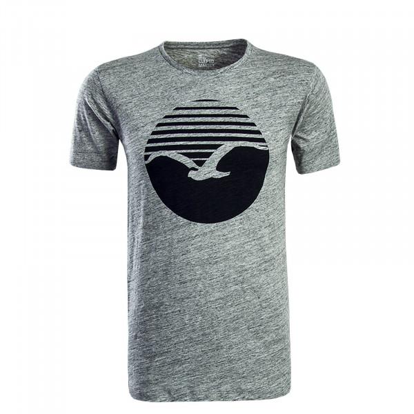 Herren T-Shirt Vintage Print Grey Black