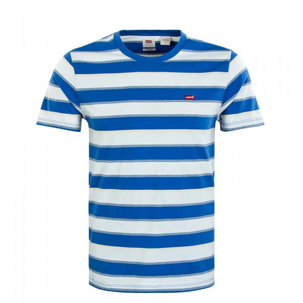 Herren T-Shirt - Original HM Flowing Stripe - White / Blue