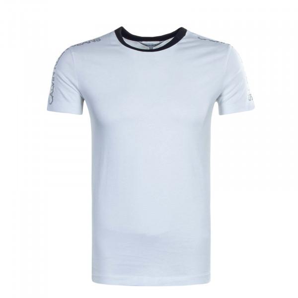 Herren T-Shirt Outline Logo Shoulder White