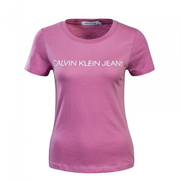 Damen T-Shirt Institutional Logo Pink White